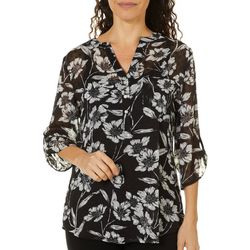 Sara Michelle Womens Floral Print Chiffon V-Neck Top