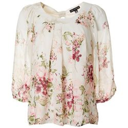 Womens Floral Print Pleated Round Neck Top