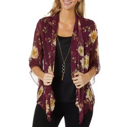 Sara Michelle Womens Floral Print Duet Necklace Top