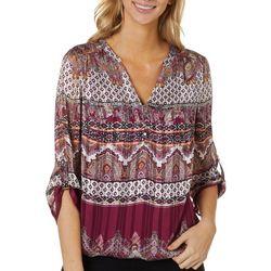 Sara Michelle Womens Mixed Stripe Print V-Neck Top