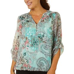 Sara Michelle Womens Paisley Print Roll Tab Sleeve Top