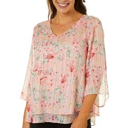 Sara Michelle Womens Floral Print V-Neck Top