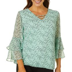 Sara Michelle Womens Dotted Print Bell Sleeve Top