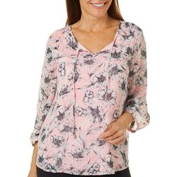 Sara Michelle Womens Floral Print Smocked Detail Top