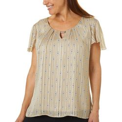 Sara Michelle Womens Geo Print Keyhole Flutter Sleeve Top