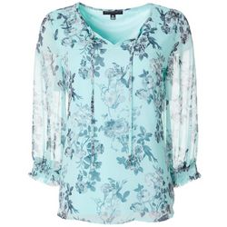 Sara Michelle Womens Feminine Floral Smocked Detail Top