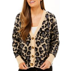 Willow & Clay Womens Textured Leopard Long Sleeve Cardigan