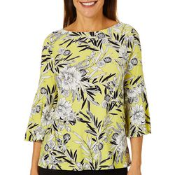Womens Floral Puff Print Bell Sleeve Top