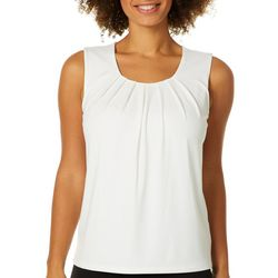 Kasper Womens Solid Pleated Cap Sleeve Top