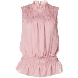 Womens Solid Smocked Sleeveless Top
