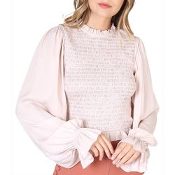 Do + Be Womens Solid Smocked High Neck Long Sleeve Top