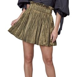 Do + Be Womens Solid Pleated Elastic Waist Pleated Skirt