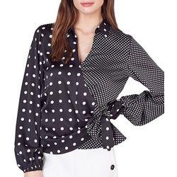 Do + Be Womens Mixed Polka Dot Wrap Long Sleeve Top