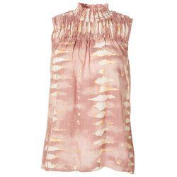 Chenault Womens Tie Dye Print Smocked Sleeveless Top