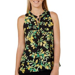 Womens Lemon Print Tie Neck Sleeveless Top