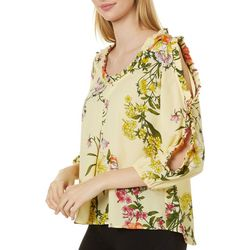 Chenault Womens Floral Print Ruffle Detail Long Sleeve Top
