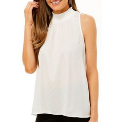Chenault Womens Subtle Dotted Smocked Sleeveless Top
