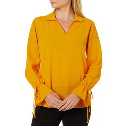 Chenault Womens Solid Ruffle Sleeve Top