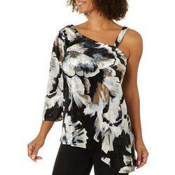 Chenault Womens Brushstroke One Shoulder Velvet Top