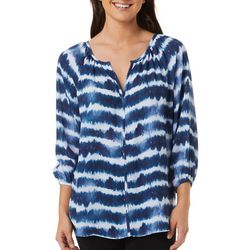 Womens Tie Dye 3-Quarter Sleeve Top