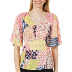 Chenault Womens Patchwork V-Neck Top