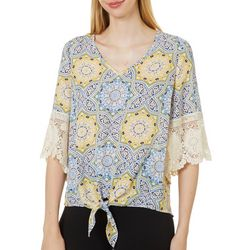Chenault Womens Tile Print Tie Front Top