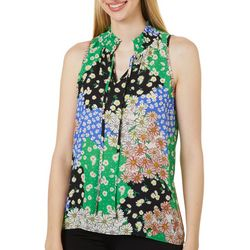 Chenault Womens Floral Smocked Sleeveless Top