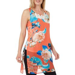 Chenault Womens Floral Print Sleeveless Top