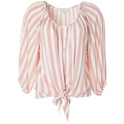 Womens Striped Faux Button Down Tie Front Top
