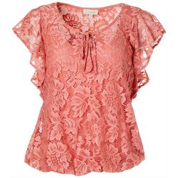 Chenault Womens Solid Lace Flutter Sleeve Top