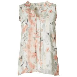 Womens Floral Print Smocked Sleeveless Top