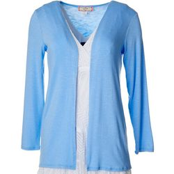 Womens Solid Long Sleeve Cardigan