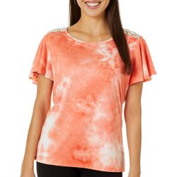 C'est La Vie Womens Tie Dye Lace Back Short Sleeve Top