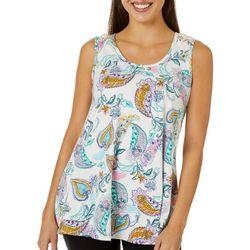 C'est La Vie Womens Paisley Print Lace Back Sleeveless Top