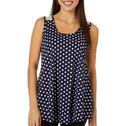 C'est La Vie Womens Polka Dot Print Lace Back Sleeveless Top