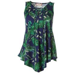 C'est La Vie Womens Palm Leaf Print Lace Up Asymmetrical Top
