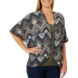 C'est La Vie Womens Chevron Short Sleeve Kimono Top