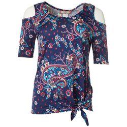 C'est La Vie Womens Paisley Side Tie Cold Shoulder Top