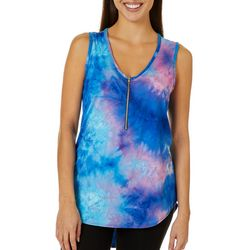 C'est La Vie Womens Tie Dye V-Neck Sleeveless Top