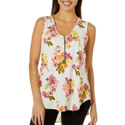 C'est La Vie Womens Floral V-Neck Sleeveless Top