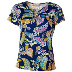 C'est La Vie Womens Floral Three Ring Short Sleeve Top
