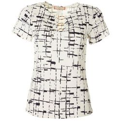 C'est La Vie Womens Printed Three Ring Short Sleeve Top