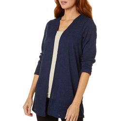 Lexington Ave Womens Solid Ribbed Long Sleeve Cardigan