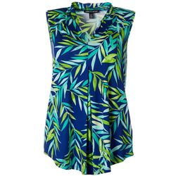 Cable & Gauge Womens Leaf Print Sleeveless Top