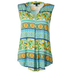 Cable & Gauge Womens Mixed Print Sleeveless Top