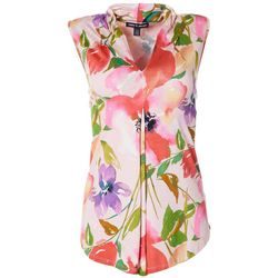 Cable & Gauge Womens Painted Floral Sleeveless Top