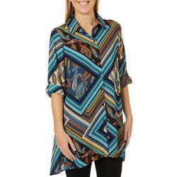 Melissa Paige Womens Roll Tab Stripe Paisley Print Tunic Top
