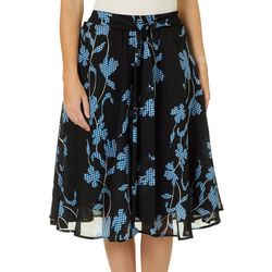 Flint & Moss Womens Pull On Floral Gingham Skirt