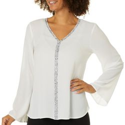 Spense Womens Solid Embellished Trim Long Sleeve Top