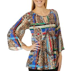 Spense Womens Mixed Print Bell Sleeve Keyhole Top